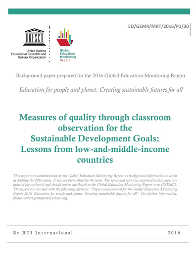 Measures of quality through classroom observation for the