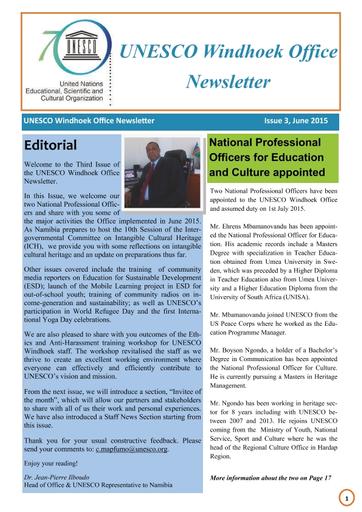 Office Newsletter | Unesco Windhoek Office Newsletter Issue 3 June 2015 Unesco