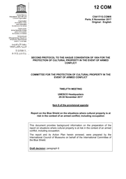 report on the blue shield on the situations where cultural property