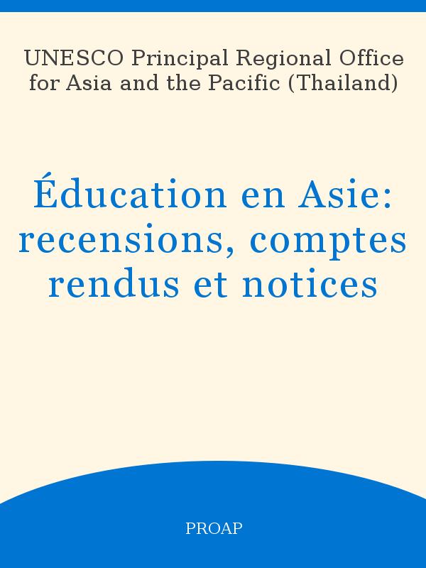 online store ccfb1 18685 Éducation en Asie  recensions, comptes rendus et notices - UNESCO ...