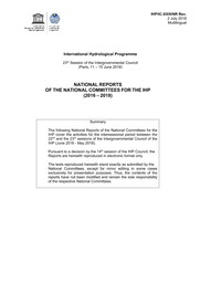 National reports of the National Committees for the IHP (2016 2018