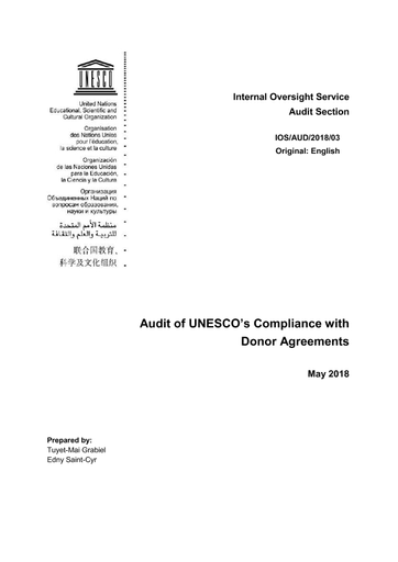 Audit Of Unescos Compliance With Donor Agreements Unesco Digital